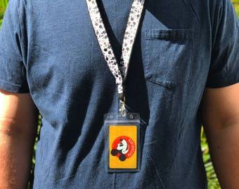 Mickey Mouse Disney Park Lanyard (with ID holder)! Pin trading, pass holder.