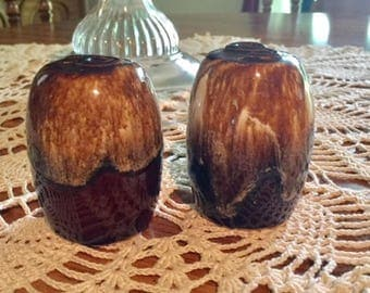 Vintage Brown Dipped Stoneware Salt N Pepper Shakers