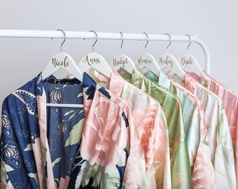 Sophia Floral Satin Bridesmaid Robes Monogrammed Bridal Party Robe White Champagne Pink Navy Champagne Bridesmaid Gift Spring Sage Green
