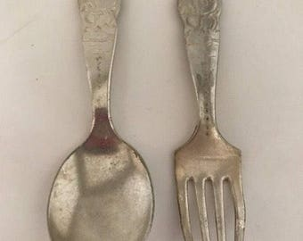 VINTAGE 1930's Disney VM Rogers and Son Mickey Mouse Fork and Spoon Set