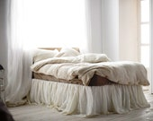 Queen size linen bed skirt -15 colors- Ruffled bed skirt - Linen bedding - Handmade bedskirt- Choose the drop #Morning Sun#