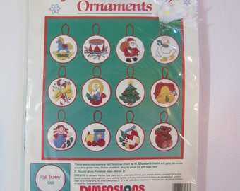 Vintage Dimensions Crewel Ornament Kit - My Favorite Things Ornaments - New/Sealed - 1990