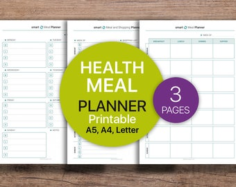 HEALTH Planner, MEAL Planner, Meal Shopping Planner, Weekly Meal Planner, Fitness log  | PDF Printable, Instant Download - A4, A5, Letter.
