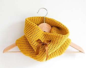 Mustard Yellow Tubular Infinity Scarf Double Layered Handmade Crochet Cowl