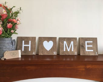 Scrabble wall art tiles large, rustic home decor