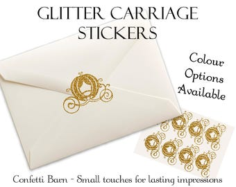 Glitter Carriage Stickers - Princess Party - Removable Vinyl - Party Invitations - Envelope Sealing Stickers - Planner Stickers #97
