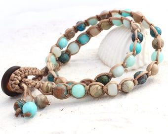 Macrame double wrap bracelet - Ocean Tones (ocean inspired blue gemstones)
