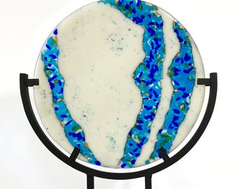 Plate - Fused Glass - 'BlueFlow Plate-2'