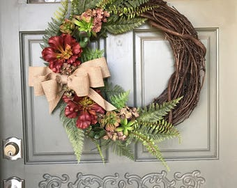 Artificial Succulent Wreath with burlap bow, front door wreath, succulent wreath, succulent decor