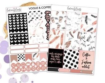 Vogue & Coffee (EC) Kit - Planner Stickers Erin Condren Happy Planner