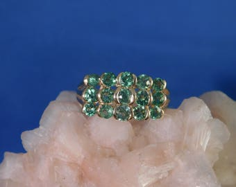 Custom 1.875 ct. Round Tsavorite Garnet Cluster Ring 10k Solid Yellow Gold