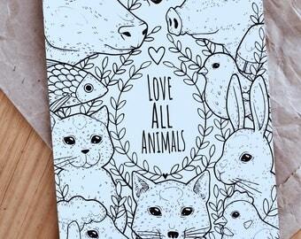 Love all animals - print a5