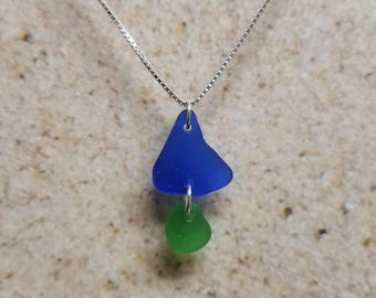 Funky Blue and Green Sea Glass Necklace *FREE SHIPPING*