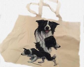 Cute Border Collie Sheepdog  100% Cotton Tote Bag For Life