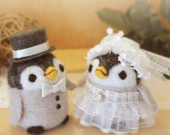Penguin wedding Needle felted doll