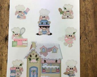 Baking Bunnies. Planner Stickers, Erin Condren, Recollections, Happy Planner, Cute Stickers, ECLP, Fun.