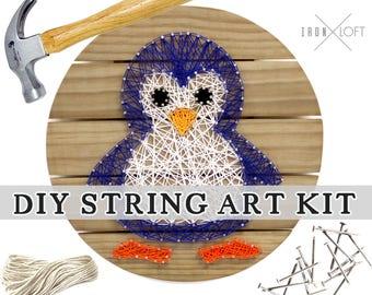 Penguin String Art DIY Wood Pallet Sign Yarn Art Kit