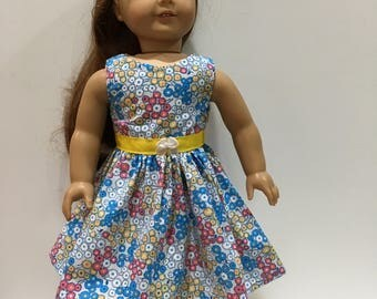 18 Inch Doll Clothes Dress With Blue Pink and Yellow Flowers Optional White Maryjane With Bows  Fits Like American Girl Doll Clothes