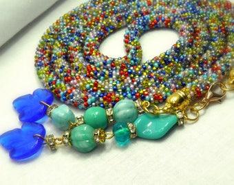long beaded necklace tassel necklace mix beads Elegant beaded necklace crochet beading Jewelry Handmade Modern Czech beads cotton thread