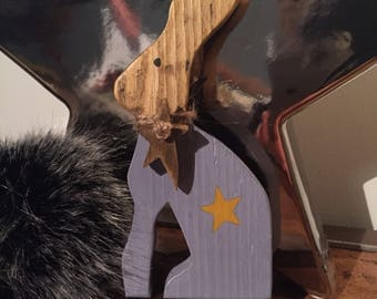 Wooden Easter Rabbit / Hare with star design & hanging wooden star