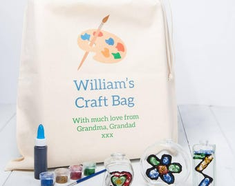 Childrens Glass Painting Kit With Personalised Gift Bag