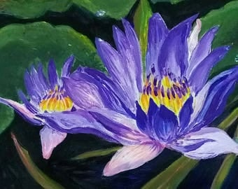 Blue nymphaea 18x24 cm Small original acrylic painting Lilac Water Lily Blossom Flowers Dressing Table Decor Wall Art Unique Perfect Gift