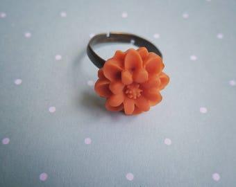 Orange Flower Adjustable Ring - The Hidden Bin