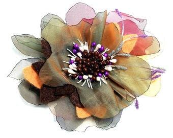 Brown Organza brooch  Soft organza flower brooch  Dress accessories  Gift for Her  Large Women's brooch