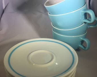 Set of Four (4) Starbucks 'At Home Collection'  Aqua Coffee Cups & Saucers