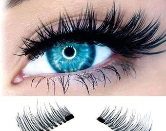 False 3D Double Durable Magnet Natural Reusable False Black Eyelashes Handmade Extensions