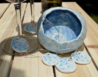 Set of wine charms with ceramic bowl, light blue original handmade set