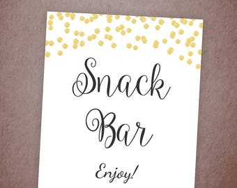Snack Bar Sign, Wedding Snacks Buffet Sign Printable, Wedding Table Sign, Snacks Table Signs, Gold Confetti Party Decor, A001