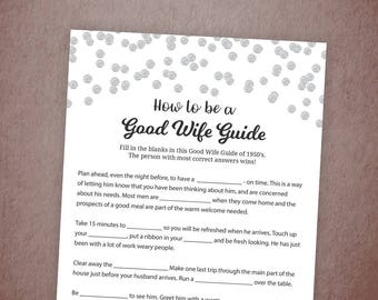 How to Be a Good Wife Guide, 1950's Good Wife, Silver Confetti Bridal Shower Games, Hens Party, Wedding Shower, Instant Download, A003
