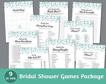 Bridal Shower Games Package, Green Confetti Dots, Bridal Shower Printable, Instant Download, Game Pack, Shower Bundle, BSPKG, A018