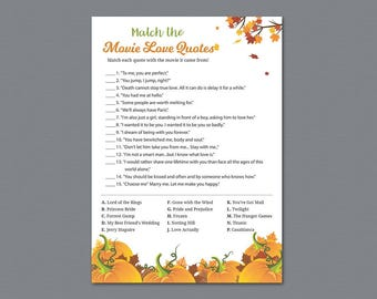 Movie Love Quote Match Game, Tree Leaves Match the Romantic Movies Trivia, Movie Love Quote Match, Fall Autumn Bridal Shower Games, A022