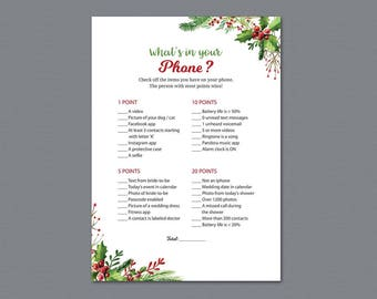 Winter Theme Whats in your Phone Game Printable, Christmas Holiday, What's on Your Phone, Bridal Shower Games Download, Bachelorette, A025