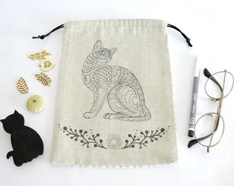 Pouch, pouch bag, purse, Tote, cat drawing, fabric linen and graphic