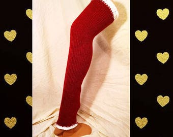 Chelsea Leg Warmers - Dance Leg Warmers - Woman's Leg Warmers - Knit - Crochet - Thigh High– Team Colors- Deep Red with White