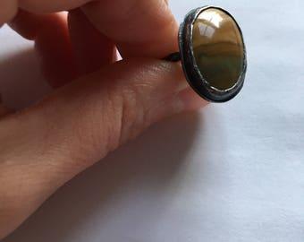 Oxidized silver landscape jasper ring