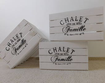 """decorative white Mart / wooden box / wine crate in """"Shabby Chic"""" * with print"""