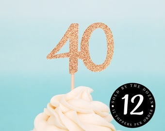 40th Birthday Cupcake Toppers 40 Cupcake Toppers 40th Anniversary Toppers Cheers to 40 Years 40 Gold Glitter 40 Black Glitter