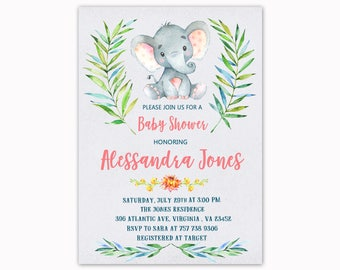 Elephant Baby Shower Invitation, Watercolor Baby Shower Invitation, Jungle Safari Baby Shower, Printable Invitation
