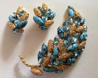 ALICE CAVINESS* Stunning Leaf Brooch and Clip On Earrings Demi Parure, Signed