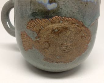 Lantern fish,ocean color,unique,handmade, ceramic mug,pottery,coffee,tea mug, handmade gift, kitchen, dining,sea,blue