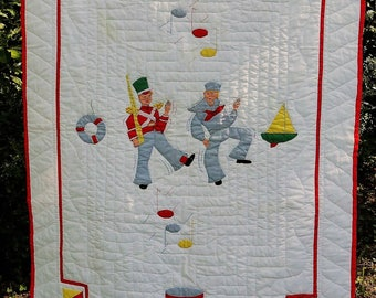 "Quilt-child ""The soldier and sailor"" - 49 Inc. x 33 Inc. (125 cm x 85 cm) - 1970s"