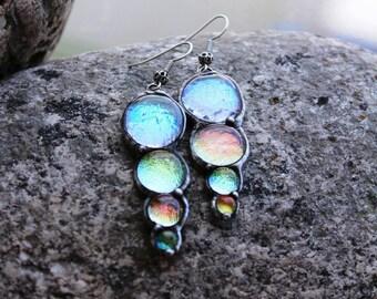 Earrings Fused glass.Dichroic.Iridescent earrings.Rainbow earrings.Long earrings.Tiffany.cocktail earrings.unusual earrings.unique gift