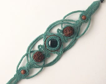 Macramé Bracelet wt Green Jade, Orange Aventurine and Rudraksha Seeds