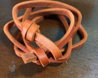 Copper leather multiwrap bracelet or choker!