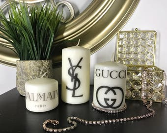 Label Wh0re Candle Set, Chanel Candles, Designer Candles, Pillar Candles, Custom Candles