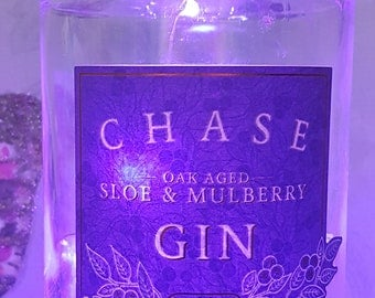 Chase - Oak Aged Sloe & Mulberry Gin Bottle with LED Battery Operated Lights - Purple
